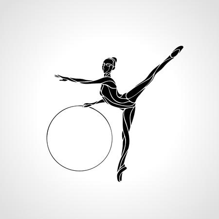 Gimnasia rítmica Arte con el aro de la silueta en negro sobre fondo blanco.