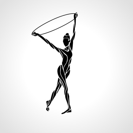 acrobatic: Rhythmic Art Gymnastics with Hoop black Silhouette on white background. Illustration