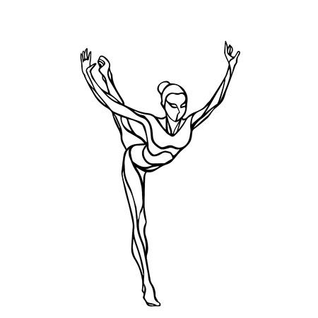 silueta de la chica creativa de gimnasia. Arte gimnasia rítmica, ilustración en blanco y negro