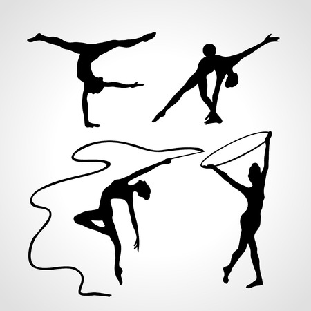 female silhouettes: Collection 4 Creative silhouettes of gymnastic girls. Art gymnastics set, black and white illustration