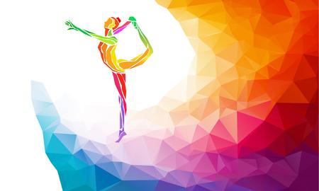 体操少女の創造的なシルエット。芸術体操、カラフルなベクトル トレンディな抽象的なカラフルなポリゴン スタイルと戻って虹の背景やバナーのテ