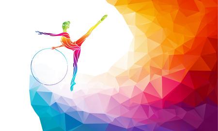 Creative silhouet van gymnastische meisje met hoepel. Art gymnastiek met hoepel, kleurrijke vector illustratie met achtergrond of banner template in trendy abstracte kleurrijke veelhoek stijl en regenboog terug Stock Illustratie