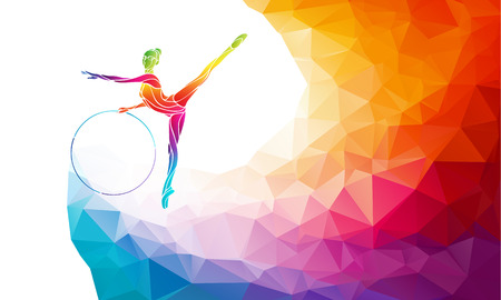 Kreative Silhouette von Turn-Mädchen mit dem Reifen. Art Gymnastik mit Reifen, bunte Vektor-Illustration mit Hintergrund oder Banner-Vorlage in trendy abstrakten bunten Polygon Stil und Regenbogen zurück