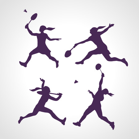 4 vector Silhouettes of female professional badminton players. Vector illustration