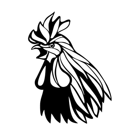 zodiac anger: Vector mascot of rooster head. Illustration