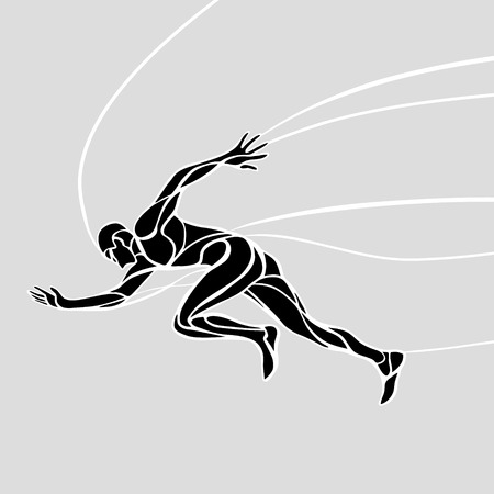 Running silhouette. Creative black and white waves runner Vector illustration