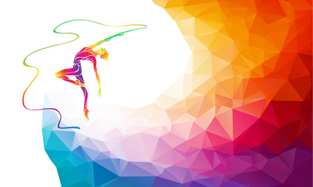 Creative silhouette of gymnastic girl. Art gymnastics with ribbon, colorful vector illustration with background or banner template in trendy abstract colorful polygon style and rainbow back Çizim