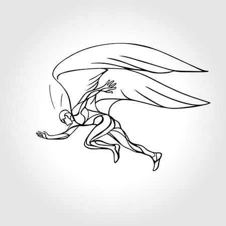 Start running. Man with wings outline vector illustration. Recovery concept