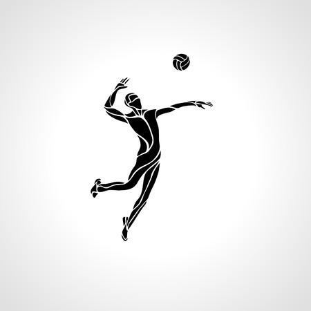 Volleyball speler die de bal - zwart vector silhouet.