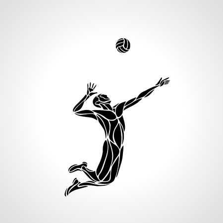 Volleyball player serving the ball - black vector silhouette.
