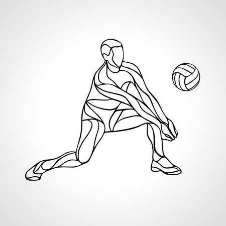 Volleyball player receiving feed. Outline silhouette of a abstract volleyball player returning a ball with a dig.