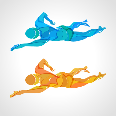crawl: Freestyle Swimmer Color Silhouette. Sport swimming, front crawl. Illustration
