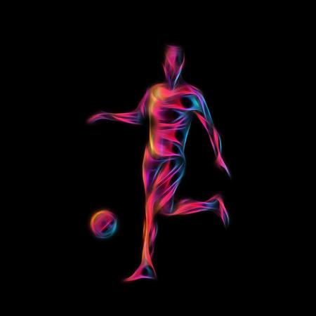 kicks: Football or Soccer player kicks the ball. The colorful  illustration on black background.