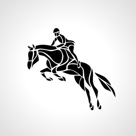 hippodrome: Horse race. Equestrian sport. Silhouette of racing horse with jockey on isolated background. Illustration