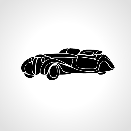 hotrod: Classic car silhouette isolated on black background, Vintage car vector Illustration