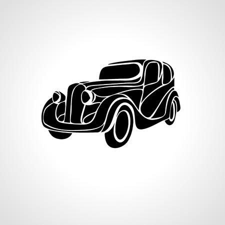 rockabilly: Classic car silhouette isolated on black background, Vintage car vector Illustration