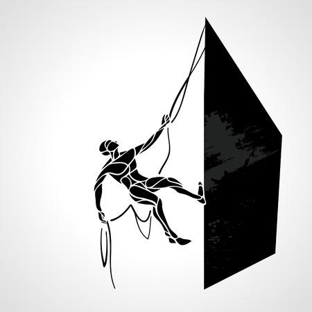 crampon: Rock climber vector silhouette. Cimbing man. Vector illustration