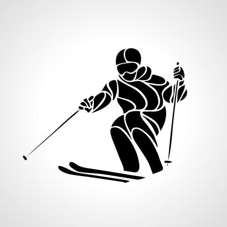 racer: Ski downhill. Creative silhouette of the skier. Giant Slalom Ski Racer. Vector illustration
