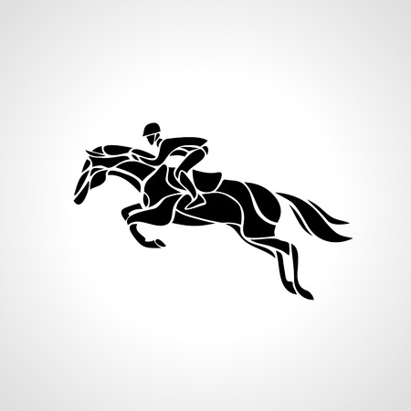 gallop: Horse race. Equestrian sport. Silhouette of racing horse with jockey on isolated background. Illustration