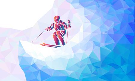 skiing: Ski downhill. Creative silhouette of the skier.