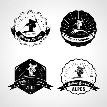 Vset skiën logo's, emblemen en design elementen. Logo templates en vintage badges. Outdoor activiteit symbolen