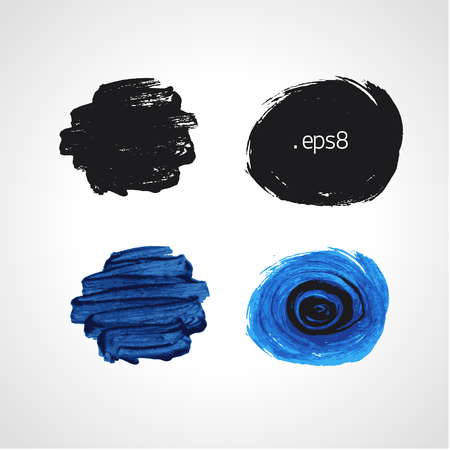 daubs: Black and blue grunge hand drawn round blobs. Black and white Vector set. Illustration