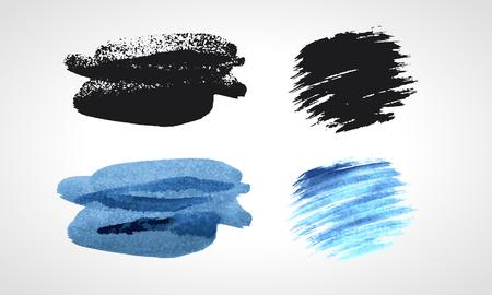 daubs: Black and blue grunge hand drawn blobs. Black and white Vector set.