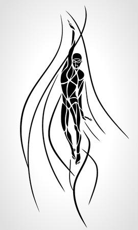 backstroke: Back Crawl Backstroke Swimmer Silhouette.