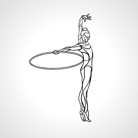 Rhythmic Gymnastics with Hoop black Silhouette on white background. Vettoriali