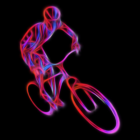 overtone: Professional cyclist in a bike race. Artwork in the style of paint strokes on black background. Neon illustration