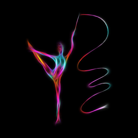 acrobat gymnast: Creative silhouette of gymnastic girl. Art gymnastics with ribbon, illustration or banner template in trendy abstract colorful neon waves style on black background Stock Photo