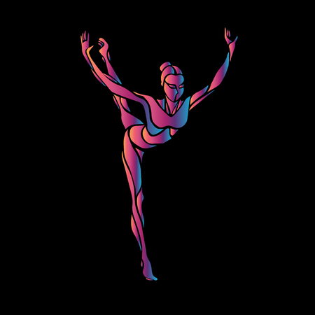 Creative silhouette of gymnastic girl. Art gymnastics pose, illustration or banner template in trendy abstract colorful neon waves style on black background Illustration
