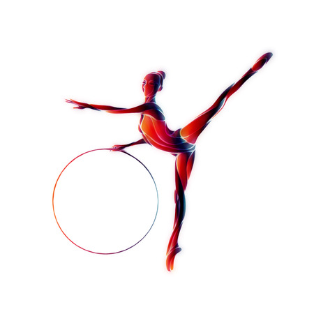 Rhythmic Gymnastics with Hoop Color Silhouette on white background Stock Photo
