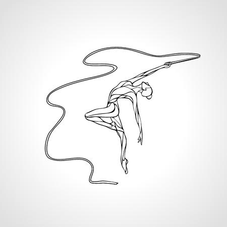 silueta de la chica creativa de gimnasia. gimnasia de arte con cinta, ilustración vectorial esquema blanco y negro