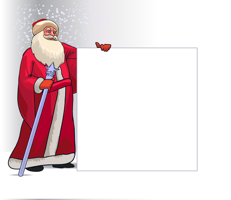 moroz: Santa Claus or Ded Moroz Cartoon Character for Christmas Holding Blank Board Isolated in White Background. Vector Illustration