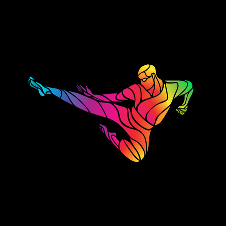 KARATE power kick. Martial arts silhouette. LGBT fighter