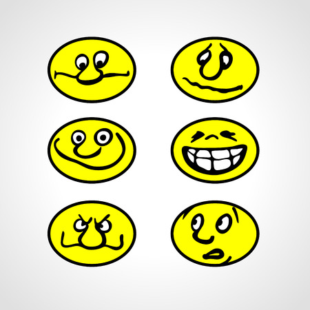 smilies: Set of Hand drawn Cartoon Smilies. Emoticon. Vector style smile face icons