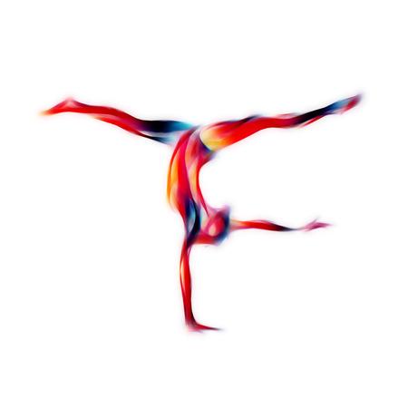 Творческий силуэт гимнастических девушка. Художественная гимнастика йога девушка, иллюстрация или шаблон баннер в модном стиле абстрактные красочные неоновые волны на белом фоне