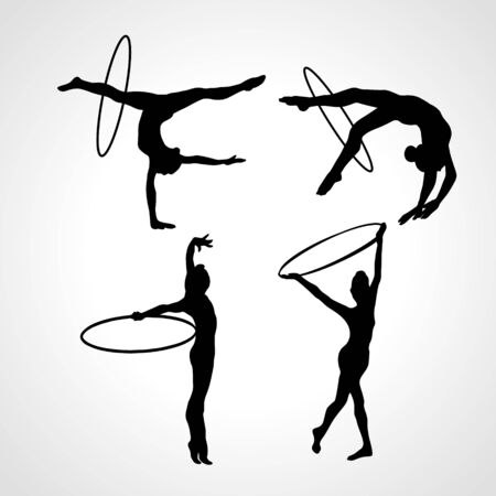 Collection 4 Creative silhouettes of gymnastic girls with hoop. Art gymnastics set, black and white vector illustration