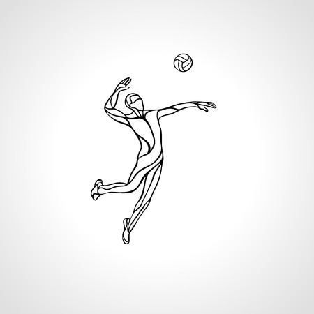Volleyball player serving the ball - black vector outline silhouette. Modern simple volleyball logo. Eps 8