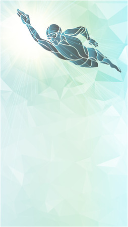 Freestyle Swimmer Color Silhouette. Sport swimming, front crawl. Vector Professional Swimming Illustration