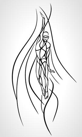 backstroke: Back Crawl Backstroke Swimmer Silhouette. Stylised creative sport swimming, one of four swim technique. Vector professional swimming illustration, eps 8