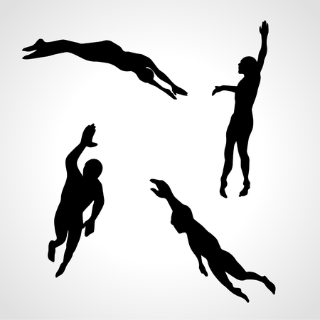 4 Silhouettes Collection of Professional Crawl Swimmers. Vector illustration clipart