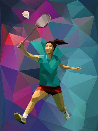 珍しいカラフルな三角形の背景。カラフルな背中に幾何学的な多角形プロ女子バドミントン選手  イラスト・ベクター素材