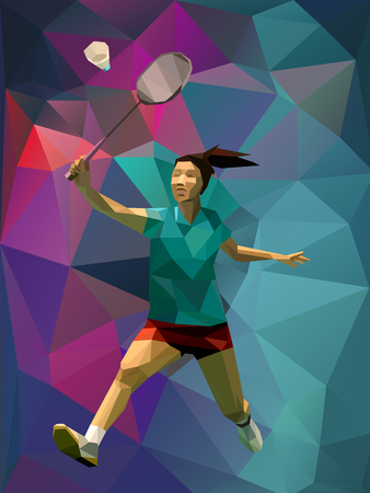 Unusual colorful triangle background. Geometric polygonal professional female badminton player on colorful back Çizim