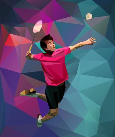 チラシ、ポスター、web、チラシ、雑誌のためのスペースを持つスマッシュ ショットを行う低温ポリのカラフルな背景に多角形の幾何学的なプロ バドミントン選手。ベクトル図 写真素材 - 61450214