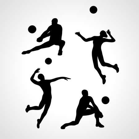 summer game: Vector volleyball players, people silhouettes, summer game activity. Eps 8