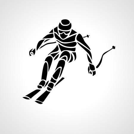 Sci in discesa. silhouette creativo dello sciatore. Slalom gigante di sci Racer. illustrazione di vettore