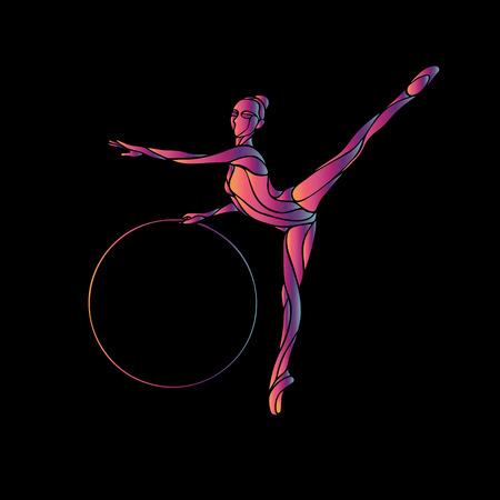 Gymnastique rythmique avec Hoop noir Silhouette sur fond noir illustration. Vector illustration EPS 8 Vecteurs