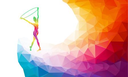 silhouette creativo di ragazza ginnastica con il cerchio. ginnastica d'arte con il cerchio, colorato illustrazione vettoriale con sfondo o banner template nel quartiere alla moda astratto colorato stile poligono e arcobaleno indietro